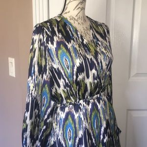 NWOT Esley Green and Blue Silky Dress